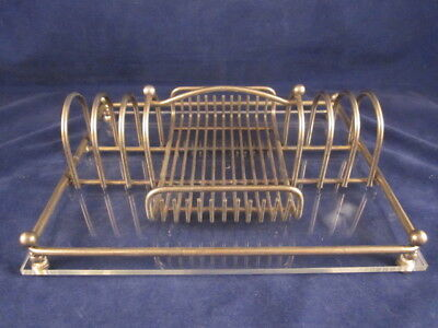 Silverplate Toast Jam Jelly Butter Holder Tray Caddy LARGE Plexiglass Base VINT