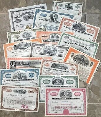 Lot Of Sixteen 16 Railroad Stock Certificates Large Dealers Group Train Company