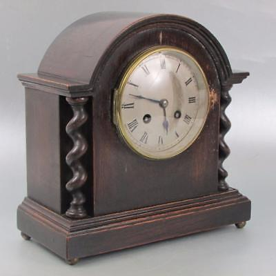 ANTIQUE FRENCH MANTEL CLOCK by VINCENTI Oak case with barley twists WORKING