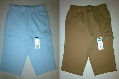 Baby Boys Cotton Cargo Pocket Pants Assorted Solid Colors NB 0-3 3-6 6-9 Month