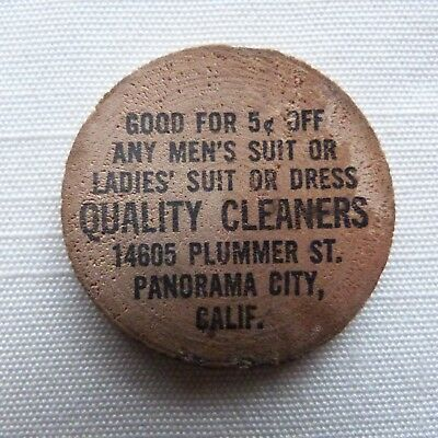 Panorama City California Quality Cleaners wooden nickel - CA