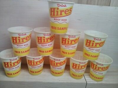 10 Vintage Hires Root Beer 4oz Dixie Cups Rare Free Sample Wax Paper