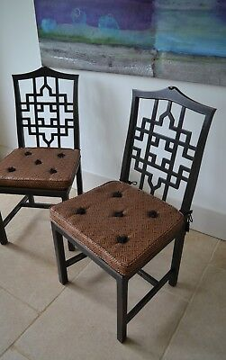 A Pair Chinese Chippendale Cockpen Hall Bedroom Kitchen Desk Table Side Chairs 2