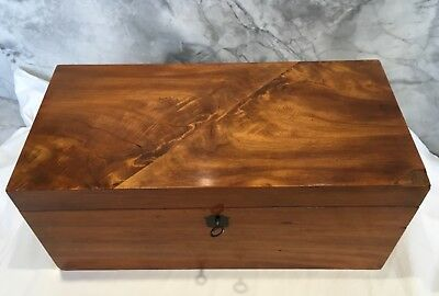 Antique Victorian Walnut (?) Lockable Tea Caddie Jewellery Box with Key