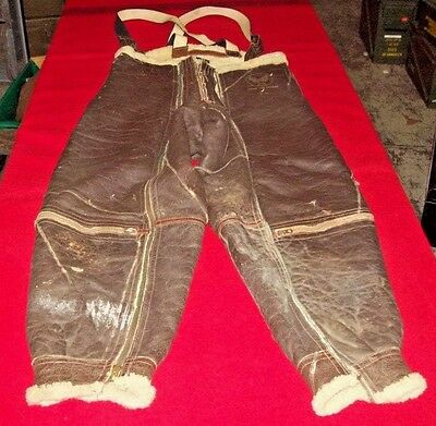 Vintage Us Army Air Force Leather Sheep Lined Type A-5 Bomber Pants Size 38R
