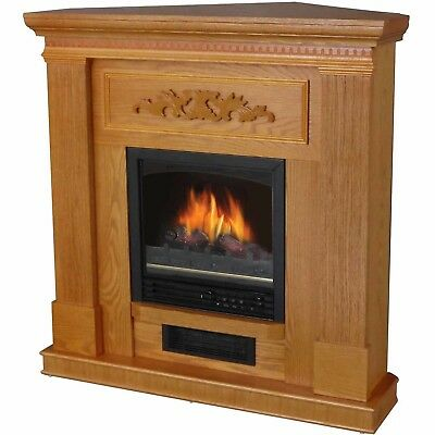 "Electric Fireplace 38"" Large Mantle Oak Wood Classic Heater Realistic Flame New"