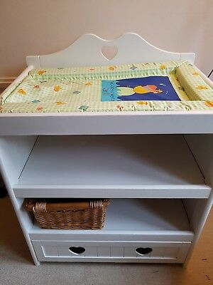 baby changing unit table furniture white heart drawer
