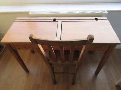 Vintage retro double school desk  with  lift up lid  ink well and original chair