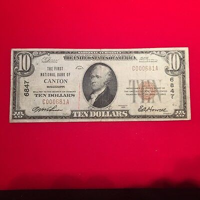Canton, Mississippi National Bank Note. Charter 6847.