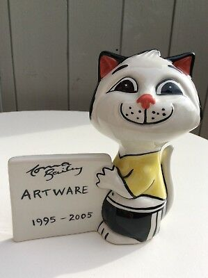 Lorna Bailey Art Ware Cat Signed 1995 - 2005 10th Anniversary Plaque VGC