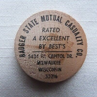 Milwaukee Wisconsin Badger State Mutual Casualty Co. wooden nickel - WI