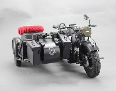 TOYMODEL 1/6 Scale METAL German Motorcycle ZÜNDAPP KS750 w/Sidecar Panzer Gray A