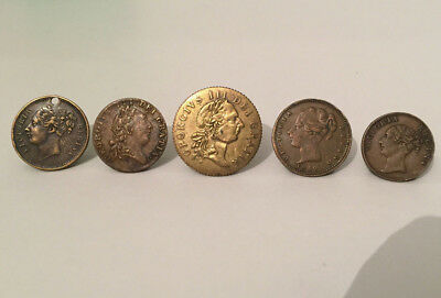 Joblot x5 18th & 19th Century Brass Gaming Tokens, Gaming Counters, Gaming Chips