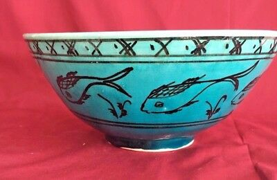 Vintage Persian Turquoise Faience Pottery Bowl- Signed