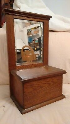 Antique solid wood Hall Mirror with Box (gloves/candles) excellent condition