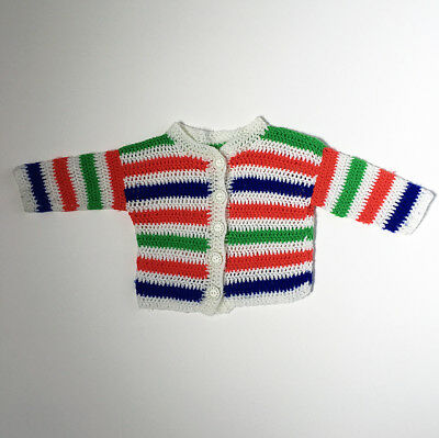 Hand Knitted Vintage Striped Baby Sweater Cardigan 9 12 18 Months FREE SHIPPING