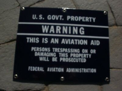 Vintage U.s. Government Warning Airplane Sign,faa,aviation Aid, Cobalt Porcelain