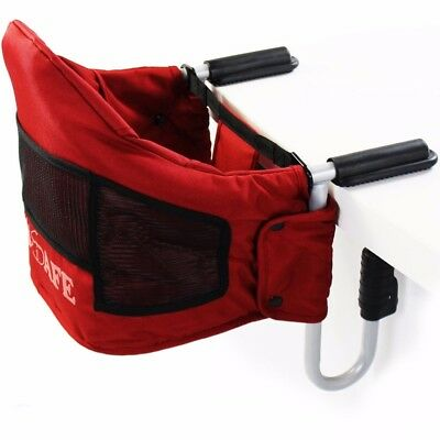 Luxury iSafe Table Booster Seat Travel High Chair Red Excellent Condition