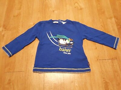 Ted Baker Winter themed blue penguin top Age 12-18 months Good Condition