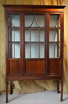 Antique Edwardian Mahogany Inlaid Glass Display Cabinet And Key,Delivery 50miles