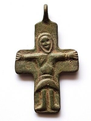 2. Byzantine Bronze Cross Pendant - size - 22 x 39 mm