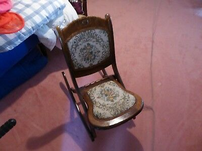 Vintage wood folding rocking chair floral tapestry