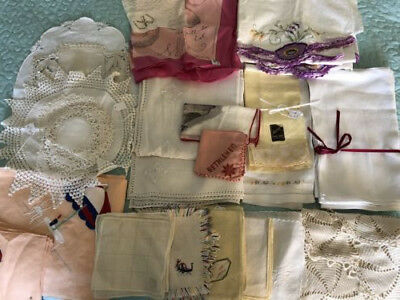 Lot Of Vintage Linens, 73 Pieces, Mostly Table Linens, One Set Pillow Cases