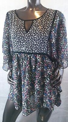 Jessica Simpson Maternity Tunic Blouse XL Sheer Dolman Sleeves Floral Print
