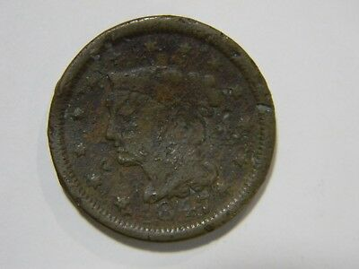 1847 ONE CENT COIN Braided Hair - FREE SHIPPING!