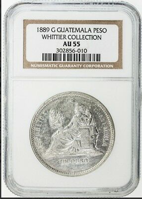 1889 G GUATEMALA  peso  WHITTIER COLLECTION  AU55