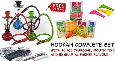 Single Hose Hookah Glass Water Pipe Vase Nargila charcoal Al Fakher Flavor Tips