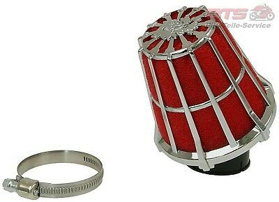 Luftfilter Malossi Red Filter E5 Racing Boxed 38mm 30° Gitter rot-Chrom-Aeon