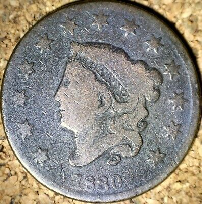 1830 Coronet Head Large Cent - LARGE LETTERS GOOD+ RAW COIN  (G497)