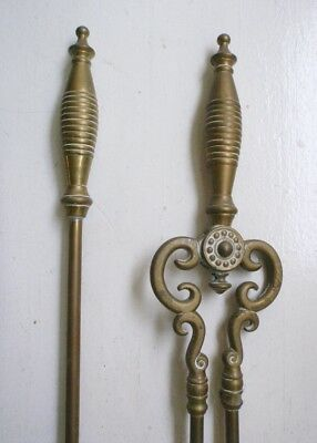 EARLY 20th Century ENGLISH BRASS FIREPLACE TOOLS Antique Vintage Set New York