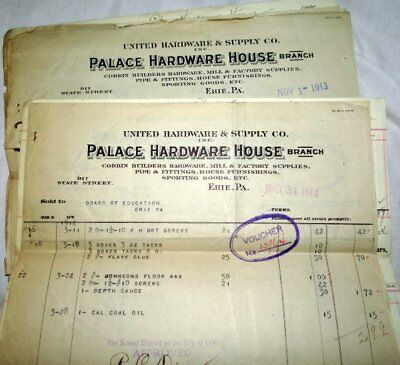 6 Vintage Bill Head Invoices Palace Hardware House Erie Pa 1914