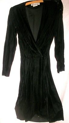 Vintage 1980s Black Velvet Front Wrap Dress Sz 12
