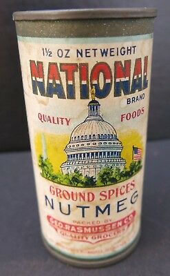 VINTAGE NATIONAL SPICE TIN with US CAPITOL paper label