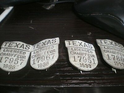 Antique Vintage 1933 Texas Licensed Chauffeur Badge lot of 4 badges pins vintage