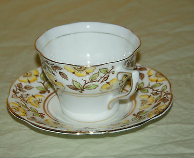 Rosina Teacup & Saucer / Yellow Flower And Gold Trim Made In England Bone China