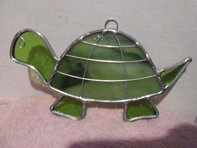 "Genuine Stained Glass Green Turtle - Handcrafted Window Suncatcher 6"" -Lot #55"