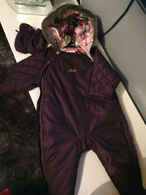 Ted Baker baby girl 6-9 snowsuit pramsuit purple plum winter warm Feet With Mits