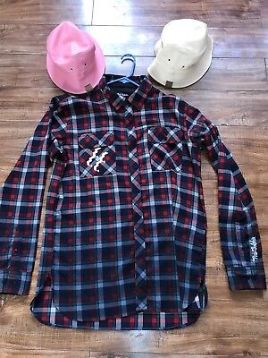 Pink Dolphin Plaid Shirt With 2 Bucket Hats Xl