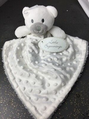NEW Little Beginnings Lovey Security Blanket Plush Teddy Bear minky White Gray
