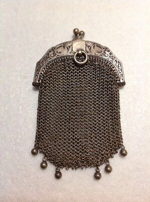 Vintage Ladies Steel Metal Mesh Purse Evening Bag Art Deco 1920's