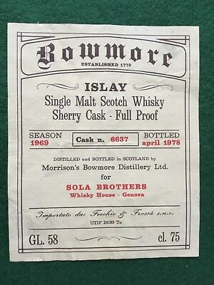 Whisky, Labels, Bowmore, Vintage, Rare, 1978, Islay, Scotch Whisky, Collectables