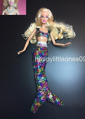 2pc set Mermaid Dress/Outfit/Clothes for Barbie Doll &1x Faux Pearl Necklace New