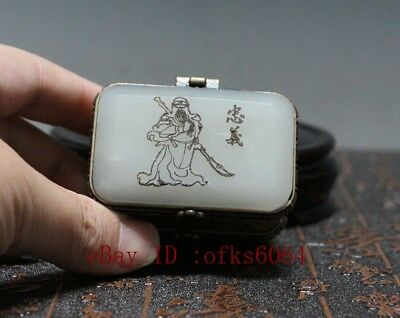 Chinese inlay jade double-deck small Box guangong Exquisite jewel case