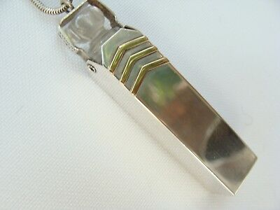 Estate vintage Sterling Silver Gold Chatelaine Crystal Perfume Bottle Necklace