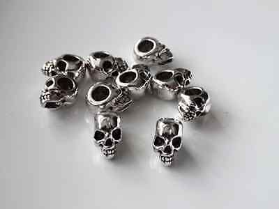 10 Pcs Antique Silver Skull Head Spacer Beads for Jewellery Bracelet Making