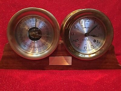 Vintage Airguide Instrument Co Ship's Clock Barometer Set Case Brass